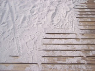 sand prints on steps